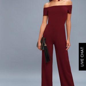 The perfect burgundy off shoulder jumpsuit!